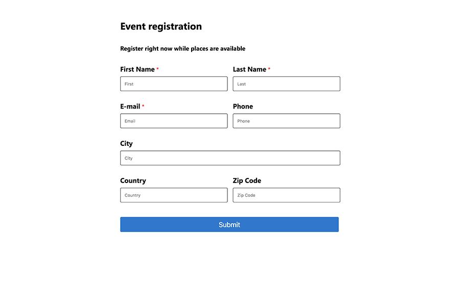 Memorable event registration form
