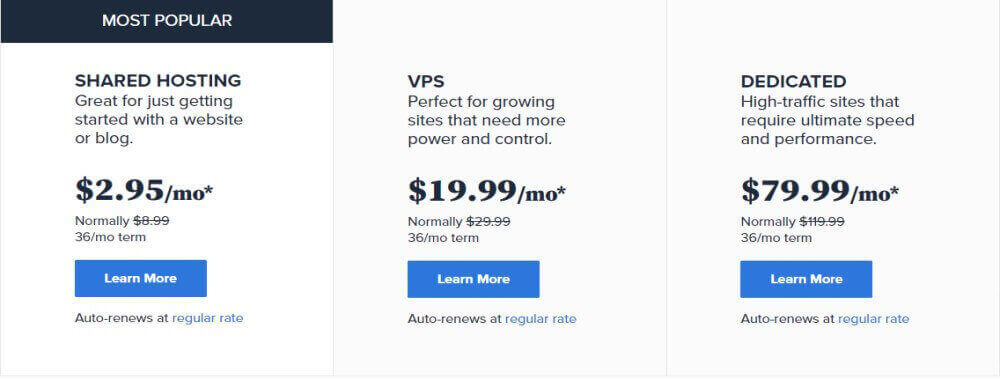 Bluehost web hosting product package options and plans